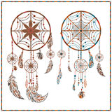 Dream catcher ethnic ornament spider web, beads Royalty Free Stock Photography