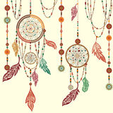 Dream Catcher feathers, beads, cobweb. Dream Catcher. Ethnic Indian colored decorative components.   feathers, beads. The concept for the design. Vector Royalty Free Stock Image