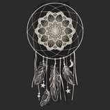 Dream catcher with feathers on black background. Hand drawn vector illustration in boho style Royalty Free Stock Image