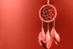 Dream catcher with feathers on gradient coral background royalty free stock images