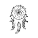 Dream catcher with feathers and leafs  in line art style, high d Stock Images