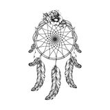 Dream catcher with feathers, leafs and rose  in line art style Stock Photo