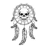 Dream catcher with feathers and leafs, skull in center maden in Stock Photo
