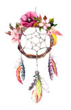 Dream catcher - feathers, leaves, flowers. Autumn watercolor, boho style Stock Photo