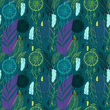 Dream catcher with feathers seamless pattern Royalty Free Stock Photos