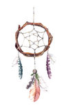 Dream catcher with feathers. Watercolor vector illustration