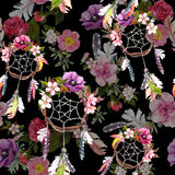 Dream catcher, flowers, feathers on black background. Seamless pattern. Watercolor