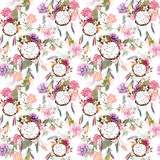 Dream catcher, flowers, feathers. Seamless pattern. Watercolor Stock Image