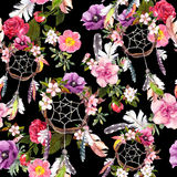 Dream catcher, flowers, feathers. Seamless pattern. Watercolor Royalty Free Stock Photos