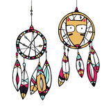 Dream catcher and fox. Vector Illustration. Funny american indian fox and dream catcher Royalty Free Stock Photo