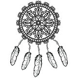 Dream catcher graphic in black and white  decorated with feathers and beads  giving its owner good dreams in mandala style Stock Image