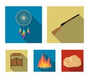 A dream-catcher, a gun, a saloon door, a fire.Wild west set collection icons in flat style vector symbol stock. A dream-catcher, a gun, a saloon door, a fire Royalty Free Stock Images