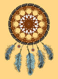 Dream catcher. Hand drawn Native American Indian talisman with feathers . Ethnic design, boho chic, tribal symbol. Stock Image