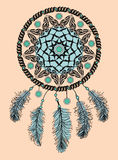 Dream catcher. Hand drawn Native American Indian talisman with feathers . Ethnic design, boho chic, tribal symbol. Royalty Free Stock Image