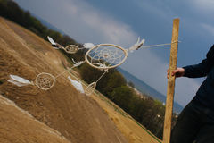 Dream catcher hanging  in a dry land.  Stock Images