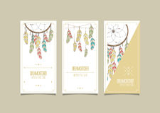 Dream catcher hipster set of cards. Vector illustration. Stock Photos
