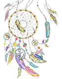 Dream catcher with items from the sea and feathers. Vector. stock image
