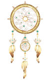 Dream catcher jewelry with feathers. Fantastic magic Dreamcatcher heart shaped colored metal and gold feathers and precious stones Royalty Free Stock Images