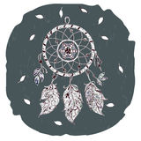 Dream catcher with leaves feathers and beads on a gray background. Vintage. Vector image. Royalty Free Stock Images