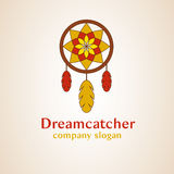 Dream catcher logo. Dreamcatcher with feathers on a pink background Stock Photography