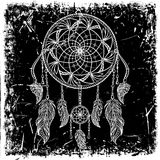 Dream catcher with ornament on grunge background. Tattoo art. Retro banner, card, scrap booking, t-shirt, bag, print, poster. vector illustration