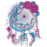 Dream catcher with ornament and roses. Tattoo art. Colorful hand drawn grunge style art. Retro banner, card, scrap booking, t-shirt, bag, print, poster.Highly stock illustration