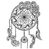 Dream catcher with ornament and roses. Tattoo art. Royalty Free Stock Image