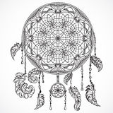 Dream catcher with ornament. Tattoo art. Stock Photography