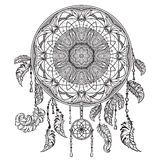 Dream catcher with ornament. Tattoo art. Design concept for banner, card, scrap booking, t-shirt, bag, print, poster. Royalty Free Stock Photos