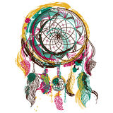 Dream catcher with ornament. Tattoo art. Hand drawn grunge style art. Colorful retro banner, card, scrap booking, t-shirt, bag, print, poster.Highly detailed stock illustration