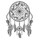 Dream catcher with ornament. Tattoo art. Retro banner, card, scrap booking, t-shirt, bag, print, poster. Highly detailed vintage black and white hand drawn royalty free illustration
