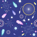Dream catcher pattern. On dark blue background, with webs, feathers and pearls Royalty Free Stock Photo