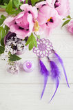 Dream catcher, peony and lilac Stock Photo
