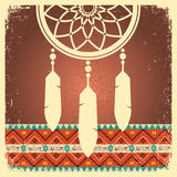 Dream catcher poster with ethnic ornament Royalty Free Stock Photo
