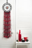 Dream catcher with red black threads Royalty Free Stock Photo