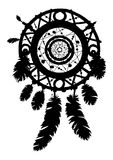 Dream catcher silhouette with feathers and beads. Stock Photography