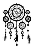 Dream catcher silhouette with feathers and beads. Royalty Free Stock Photo