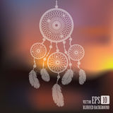 Dream catcher on sunset blurred mesh background with sample text. Royalty Free Stock Photos