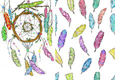 Dream catcher from tree branches and seamless pattern watercolor Stock Photography