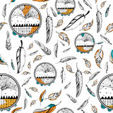 Dream Catcher in Tribal boho style seamless pattern Royalty Free Stock Photos
