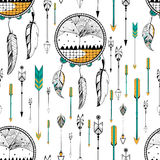 Dream Catcher in Tribal boho style seamless pattern Royalty Free Stock Image