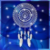 Dream Catcher. Dream Catcher Vector Illustration On Blue Star Background royalty free illustration