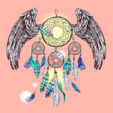 Dream catcher with wings Royalty Free Stock Images