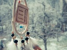 Dream catcher on a winter forest Royalty Free Stock Photos