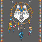 Dream catcher with wolf. Stock Photos
