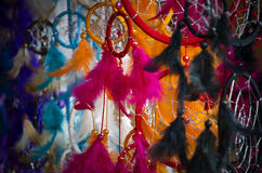 Dream catchers on artisan market. Close up of colorful variety of dream catchers on artisan market Royalty Free Stock Image