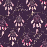 Dream catchers on the bare branches seamless vector pattern Stock Image