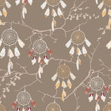 Dream catchers on the bare branches seamless vector pattern Royalty Free Stock Photo
