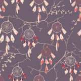 Dream catchers on the branches seamless vector pattern Stock Image