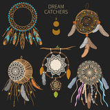 Dream catchers. On dark background. Vector collection Stock Photography
